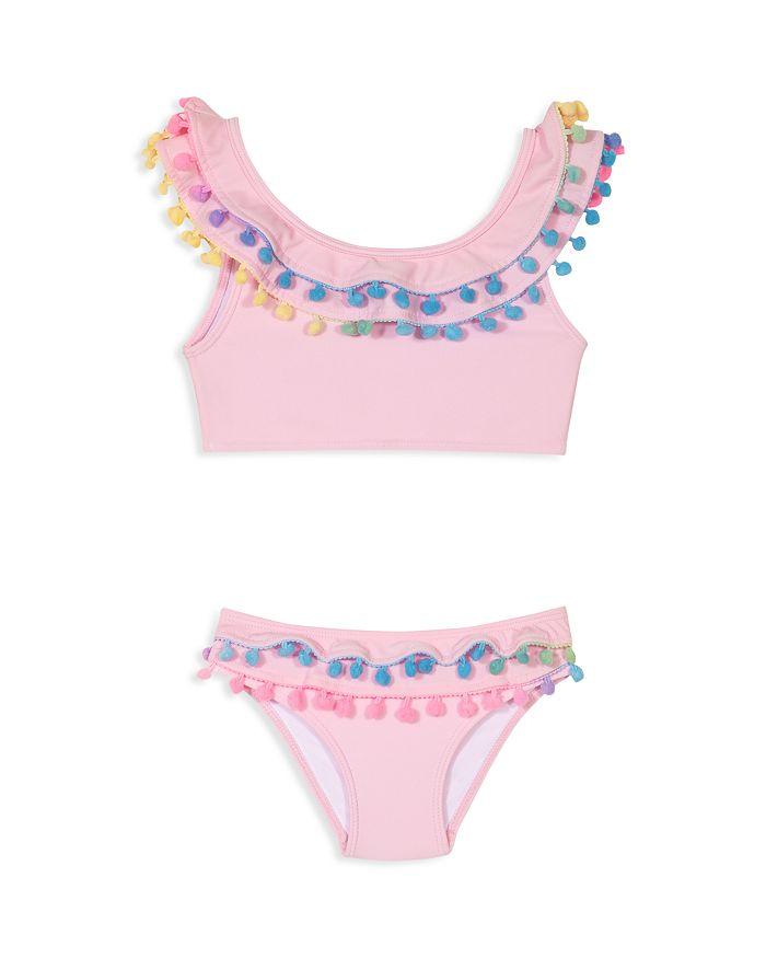 PilyQ - Girls' Pom-Pom Two-Piece Swimsuit - Little Kid, Big Kid