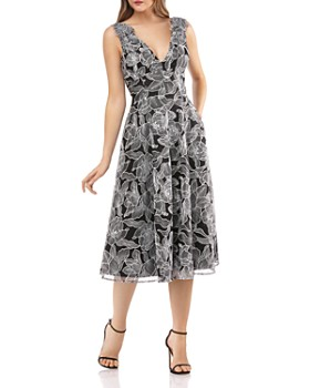 Carmen Marc Valvo Infusion - Floral-Embroidered Fit & Flare Dress