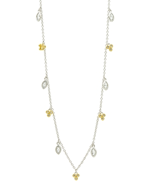 Freida Rothman Fleur Bloom Petal Dangle Necklace in 14K Gold-Plated & Rhodium-Plated Sterling Silver, 40