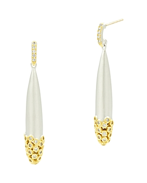 Freida Rothman Fleur Bloom Drop Earrings in 14K Gold-Plated & Rhodium-Plated Sterling Silver