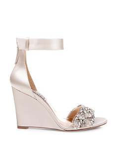 Badgley Mischka - Women's Lauren Crystal-Embellished Wedge Heel Sandals