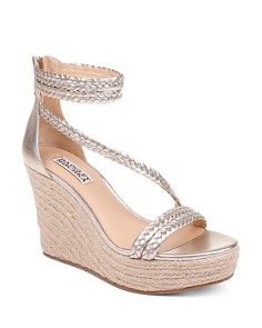 Badgley Mischka - Women's Lita Metallic Leather Wedge Espadrille Sandals