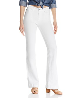 7 For All Mankind - Dojo Wide Leg Jeans in White Runway Denim
