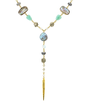 Chan Luu Multi Stone & Cultured Freshwater Pearl Lariat Necklace in 18K Gold-Plated Sterling Silver or Sterling Silver, 16