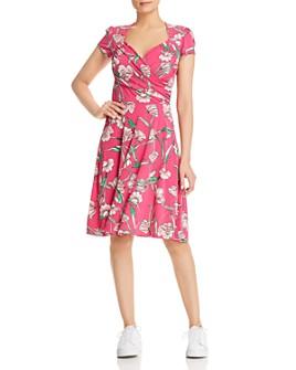 Leota - Floral-Print Faux-Wrap Sweetheart Dress