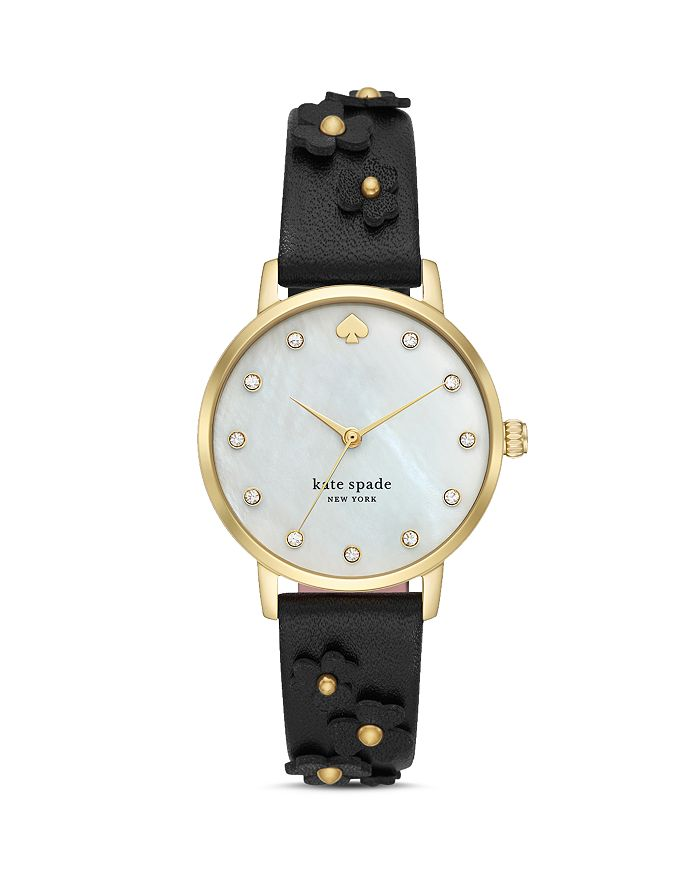 kate spade new york - Metro Floral Black Leather Strap Watch, 34mm