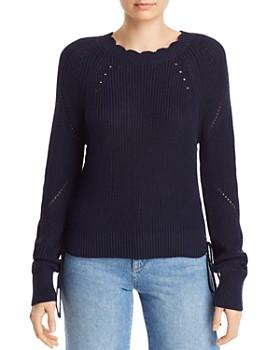 a838e2ff2 AQUA - Scalloped Lace-Up Sweater - 100% Exclusive ...