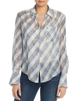 437a75e7cc0 Joie - Malcah Semi-Sheer Plaid Silk Shirt ...