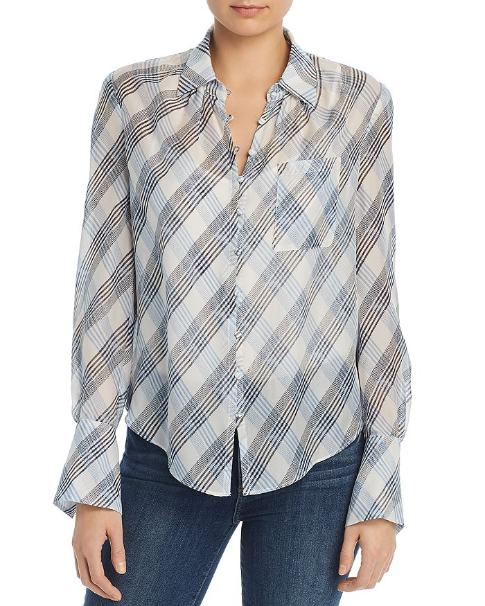 Joie - Malcah Semi-Sheer Plaid Silk Shirt