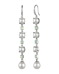 Carolee - Linear Simulated Pearl & Stone Drop Earrings