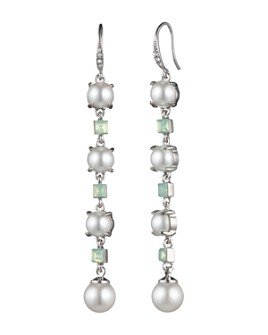 Carolee - Linear Simulated Pearl & Stone Drop Earrings