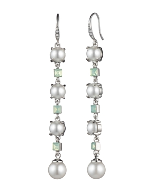 Carolee Linear Simulated Pearl & Stone Drop Earrings