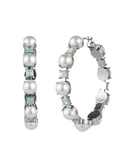 Carolee - Simulated Pearl & Stone Hoop Earrings