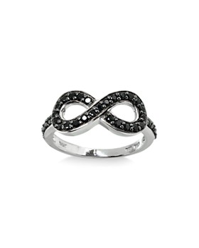 AQUA - Black Spinel Infinity Ring in Sterling Silver - 100% Exclusive