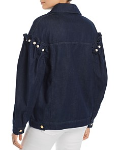 No Frills by Mother of Pearl - Faux Pearl Embellished Denim Jacket