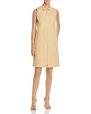 Lafayette 148 Dresses THEODORE SLEEVELESS ZIP-FRONT SHIFT DRESS