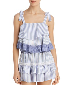 Surf Gypsy - Striped Combo Ruffle Tank Top Swim Cover-Up