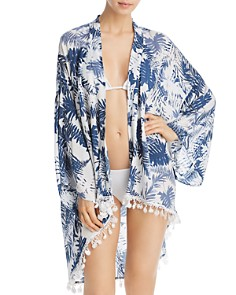 Surf Gypsy - Denim Palm Leaf Print Flower Trim Kimono Swim Cover-Up