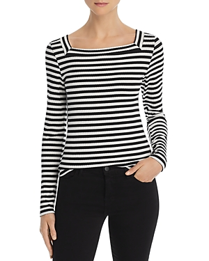 Frame Knits STRIPED RIB-KNIT TOP