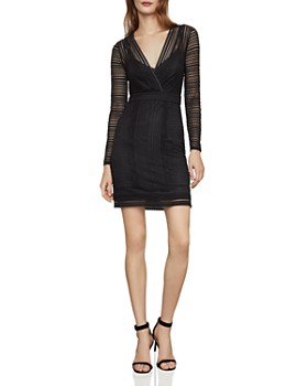 e2f9ddc57b0 BCBGMAXAZRIA - Mixed Lace Faux-Wrap Dress ...