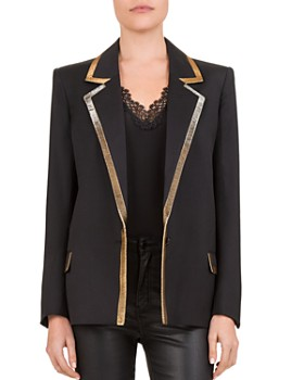 The Kooples - Metallic-Trimmed Single-Button Blazer