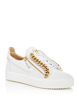 Giuseppe Zanotti - Men's Chain Leather Low-Top Sneakers