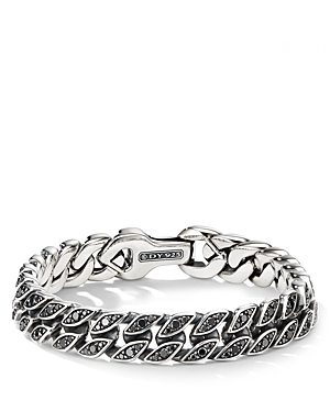 David Yurman Accessories CURB CHAIN BRACELET WITH BLACK DIAMONDS