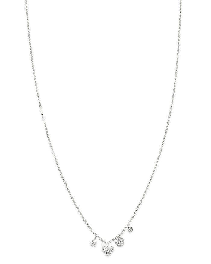 "Meira T - 14K White Gold Diamond Charm Necklace, 18"""