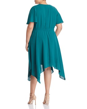 Adrianna Papell Plus - Handkerchief-Hem Faux-Wrap Dress