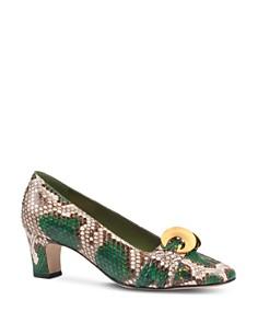 Gucci - Women's Python Half Moon GG Mid-Heel Pumps