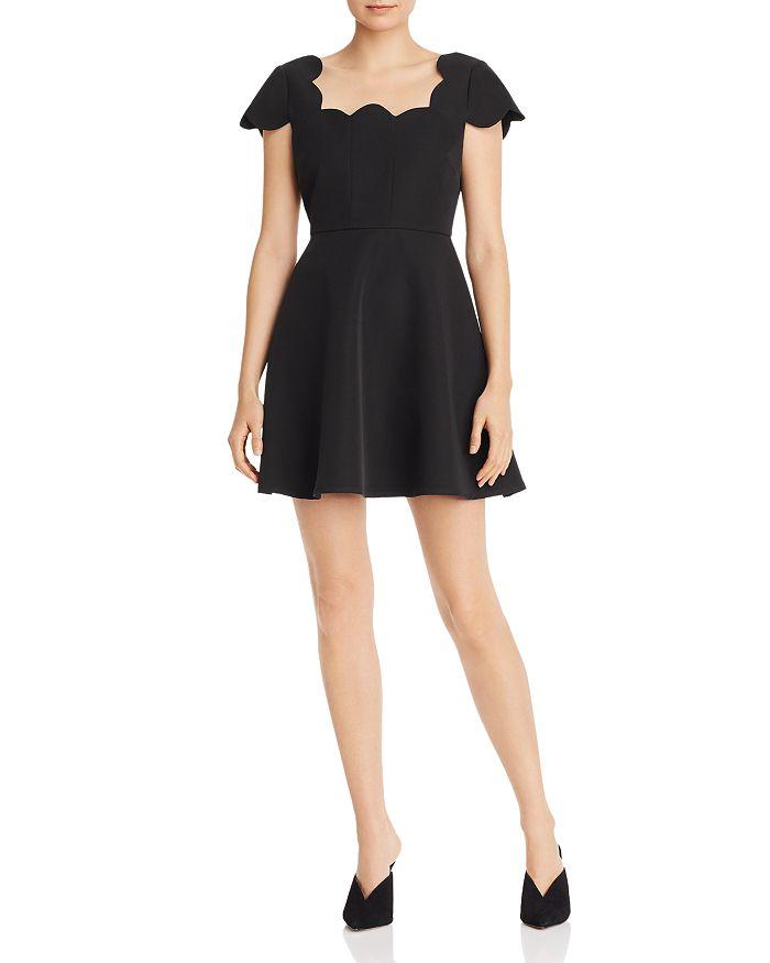 AQUA - Scalloped Cap-Sleeve Dress - 100% Exclusive
