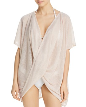 Echo - Twist-Front Slub Knit Top Swim Cover-Up
