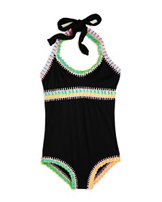Platinum inspired by Solange Ferrarini - Girls' Rainbow Embroidered Ribbed One-Piece Swimsuit, Little Kid, Big Kid - 100% Exclusive