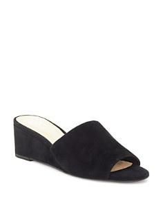 VINCE CAMUTO - Women's Stephana Suede Wedge-Heel Slide Sandals