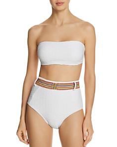 Shoshanna - Bandeau Bikini Top & Belted High-Waist Bikini Bottom