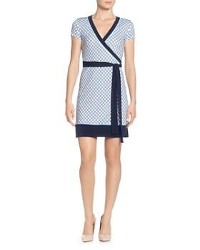 e130112d T Tahari - Dotted Faux-Wrap Dress ...