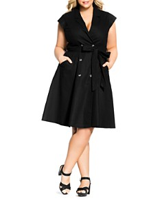 City Chic Plus - Cap-Sleeve Shirt Dress