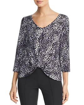 Status by Chenault - Knot-Front Leopard-Print Top