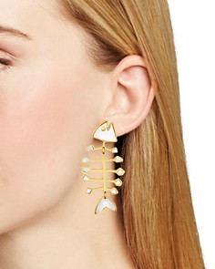 Tory Burch - Mismatched Fishbone Drop Earrings