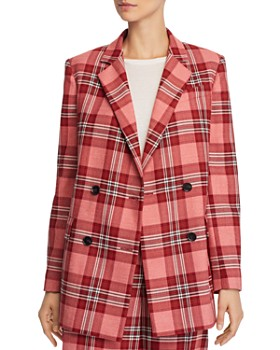 Whistles - Plaid Double-Breasted Blazer - 100% Exclusive