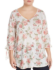 Status by Chenault Plus - Floral-Print Tie-Sleeve Top