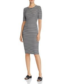 AQUA - Striped Rib-Knit Dress - 100% Exclusive