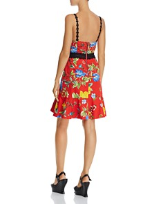 Alice and Olivia - Kirby Lace-Trim Ruffled Floral Dress