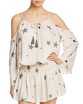 Surf Gypsy - Star Print Cold-Shoulder Tunic Swim Cover-Up