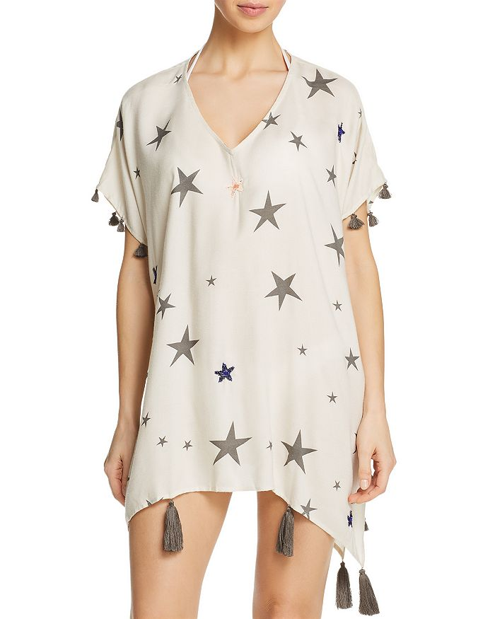 Surf Gypsy - Beaded Star Print Dress Swim Cover-Up