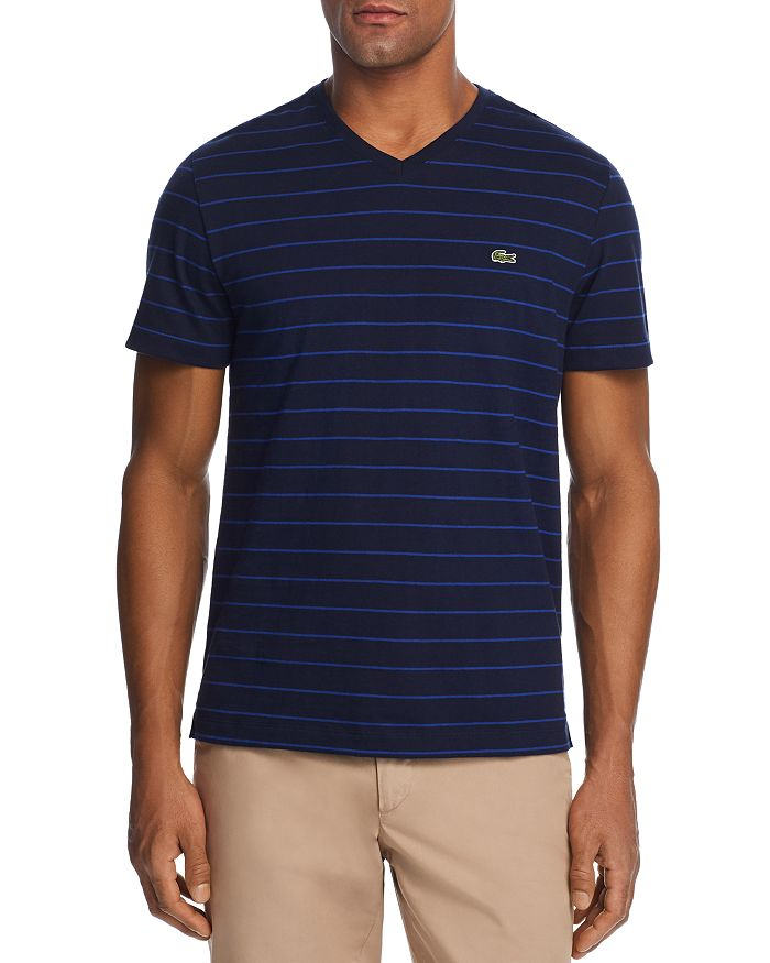 Lacoste - Striped V-Neck Tee - 100% Exclusive