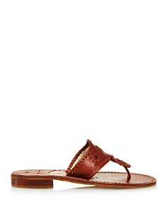 Jack Rogers - Women's Natural Jacks Leather Thong Sandals