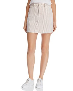 PAIGE - Aideen Denim Mini Skirt in Blossom Pink Stripe - 100% Exclusive