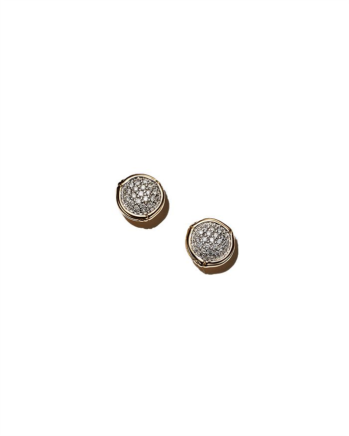 JOHN HARDY - John Hardy Bamboo 18K Yellow Gold Diamond Pavé Small Round Stud Earrings