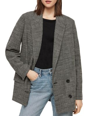 Helei Plaid Double Breasted Blazer by Allsaints